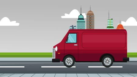 fast pass : Van vehicle passing at city cartoon concept High Definition animation colorful scenes