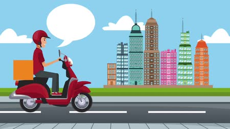 mobilet : Delivery man on scooter with fast food High Definition animation colorful scenes
