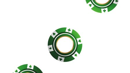 luck : Casino chips falling down over white background High definiton animation colorful scenes