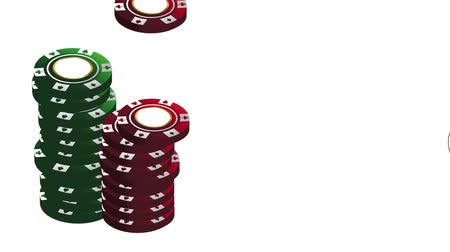 esign : Casino chips stacked at poker game High definiton animation colorful scenes Stock Footage