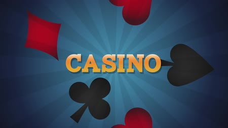 esign : Casino game over card symbols blue striped background High definiton animation colorful scenes