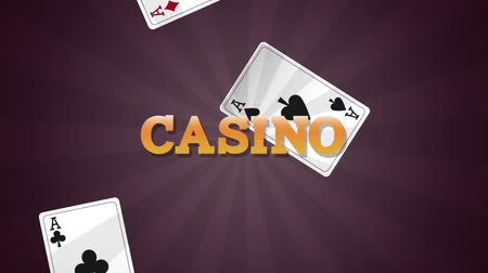esign : Casino sign over cards falling down black background High definiton animation colorful scenes Stock Footage