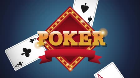 рулетка : Poker emblem over cards falling down blue background High definiton animation colorful scenes Стоковые видеозаписи