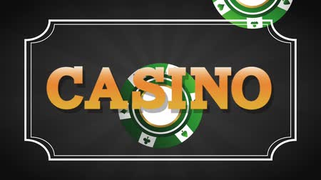 esign : Casino sign over leisure cards falling down black background High definiton animation colorful scenes Stock Footage