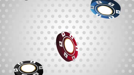 esign : Casino chips falling down over white background High definiton animation colorful scenes