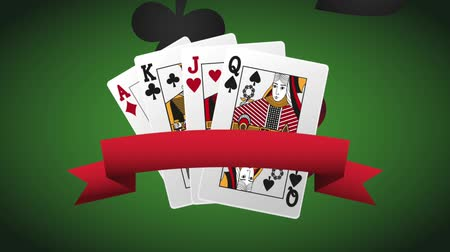 esign : Pokers cards with ribbon banner over green deck background High definiton animation colorful scenes