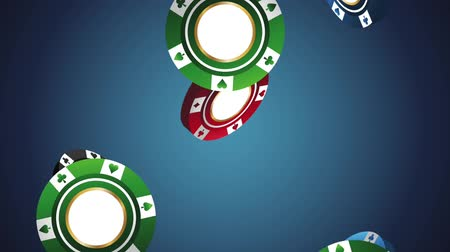 esign : Casino chips falling down over blue background High definiton animation colorful scenes