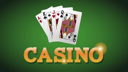 esign : Casino cards on green deck background High definiton animation colorful scenes