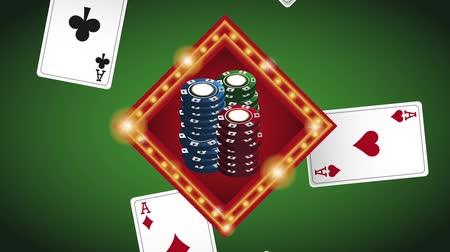 esign : Casino chips sign over green deck background High definiton animation colorful scenes