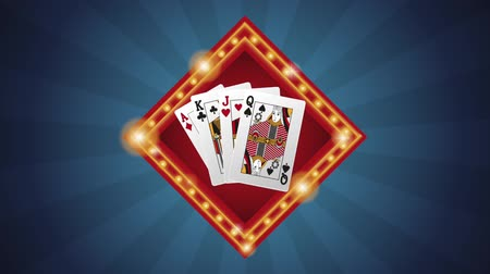 esign : Casino cards sign over blue striped background High definiton animation colorful scenes Stock Footage