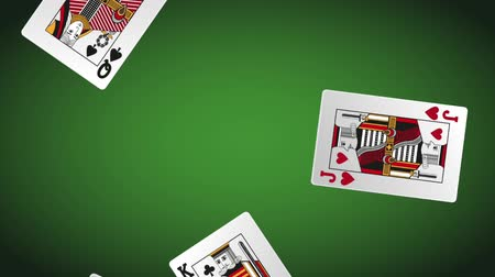 esign : Casino cards falling down over green deck background High definiton animation colorful scenes