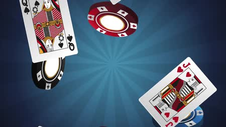 esign : Casino chips and cards falling over blue background High definiton animation colorful scenes