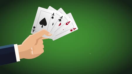 esign : Hand with casino cards over green background High definiton animation colorful scenes