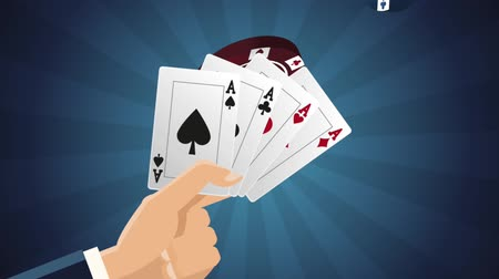 esign : Hand with casino cards over blue striped background High definiton animation colorful scenes Stock Footage