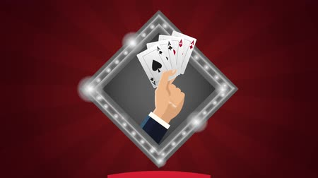 esign : Hand with poker cards sing over red background High definiton animation colorful scenes Stock Footage