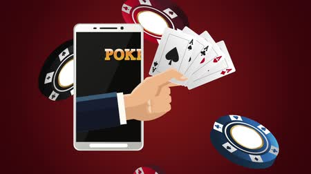 чемпион : Hand with poker cards inside smartphone over chips falling background High Definition animation colorful scenes Стоковые видеозаписи