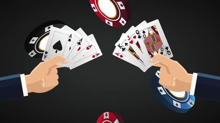 esign : Hands with casino cards over black background  High Definition animation colorful scenes