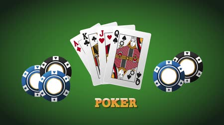 ruletka : Poker cards and chips over deck background High Definition animation colorful scenes Wideo
