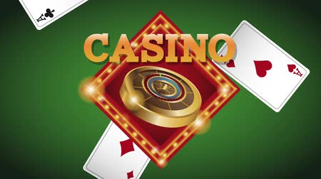 esign : Casino emblen over leisure cards on green deck High Definition animation colorful scenes Stock Footage