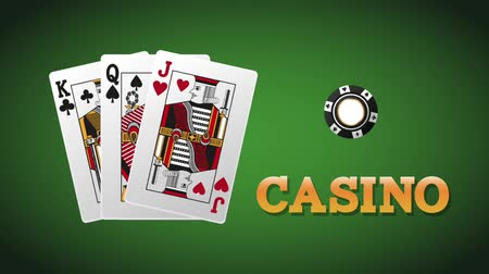 Вегас : Casino cards with chips over green background High Definition animation colorful scenes Стоковые видеозаписи