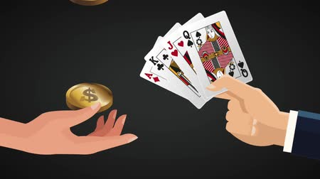 esign : Hands with money and casino cards over black background High Definition animation colorful scenes