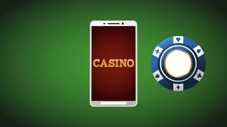 dobbelstenen : Online casino from smartphone with cards and money High Definition animation colorful scenes
