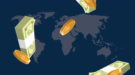 abundância : Wads of money falling over world map High Definition animation colorful scenes Stock Footage