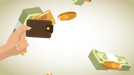 entering : Hand with wallet over wads of money High Definition animation colorful scenes
