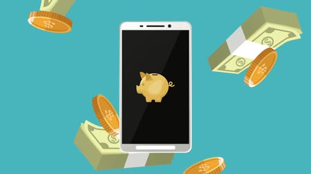 piggy bank : Online bank app from smartphone over money falling down High Definition animation colorful scenes