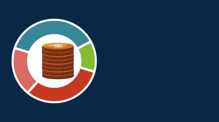 abbondanza : Money on colorful round icon over blue background High Definition animation colorful scenes