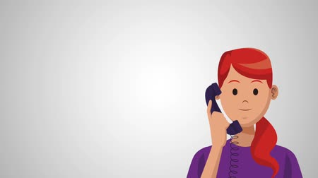 телемаркетинг : Womann calling from telephone over gray background High Definition colorful animation scenes Стоковые видеозаписи