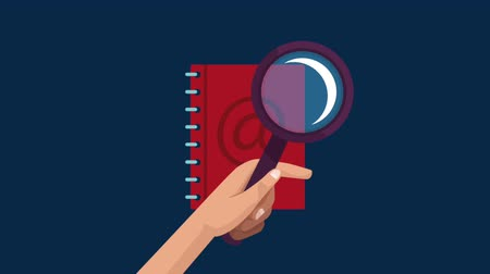 e book : Magnifying glass looking in address book over blue background High Definition colorful animations scenes