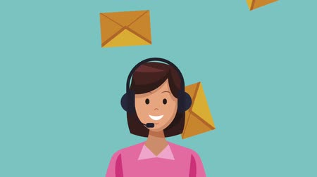 temsilci : Call center woman with emails High Definition colorful animations scenes Stok Video