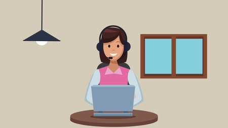 телемаркетинг : Call center agent with laptop and headset High Definition colorful animation scenes
