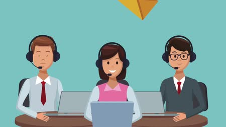 representante : Call center agents working at office High Definition colorful animation scenes
