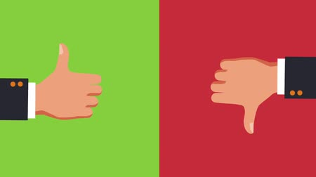 taça : Thumb up and thumb down over green and red background High Definition colorful animation scenes