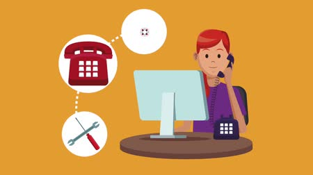 temsilci : Customer calling to technical support from telephone High Definition colorful animation scenes