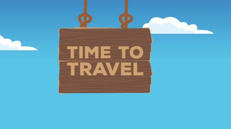 poste de sinalização : Time to travel wooden signpost over blue background High Definition colorful animation scenes