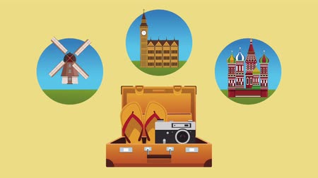 sandalias : Travel to europe suitcase open with flip flops and camera High Definition colorful animation scenes Archivo de Video
