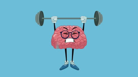 deha : Funny brain cartoon lifting weights High Definition animation colorful scenes Stok Video