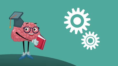 çizgi roman : Funny brain reading a book High Definition animation colorful scenes Stok Video