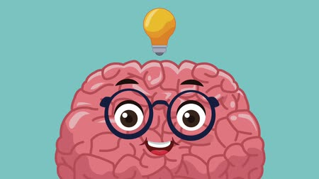 deha : Funny brain cartoon with big idea High Definition animation colorful scenes Stok Video