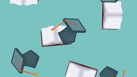 livros didáticos : graduations hat and book falling over blue background High Definition animation colorful scenes