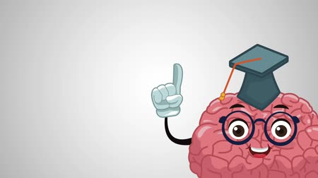 mezun : Funny brain with gradaution hat cartoon High Definition animation colorful scenes Stok Video