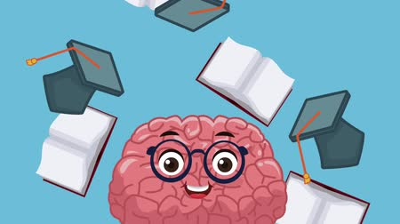 çizgi roman : Funny brain cartoon over books falling background High Definition animation colorful scenes