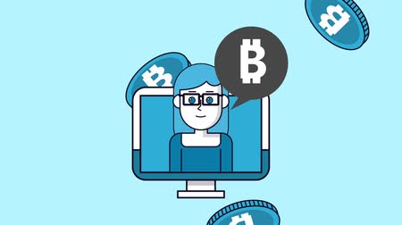 sobre : Woman talking about bitcoin from pc screen High Definition colorful animation scenes