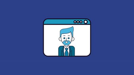 a böngésző : Businessman talking from browser High Definition colorful animation scenes