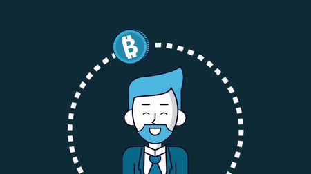 waluta : Bitcoin circling around businessman High Definition colorful animation scenes