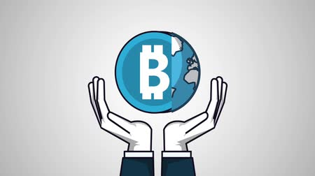 e commerce : Hand with bitcoin and world symbol High Definition colorful animation scenes