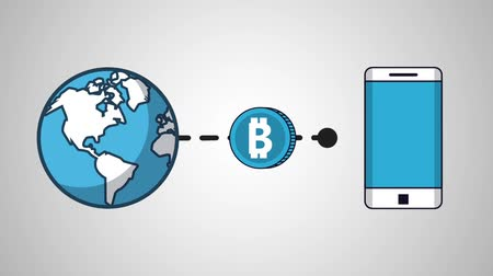 parasal : Using bitcoin around the world with smartphone High Definition colorful animation scenes